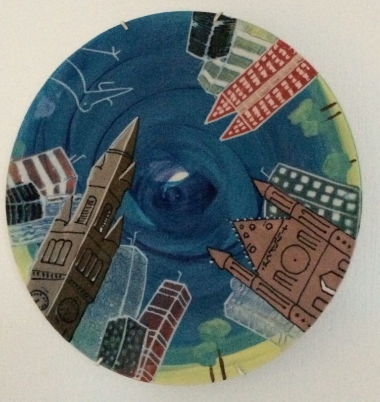 Basalt schalen porselein relatiegeschenk herdenkingsbord 100 jaar Vredespaleis
