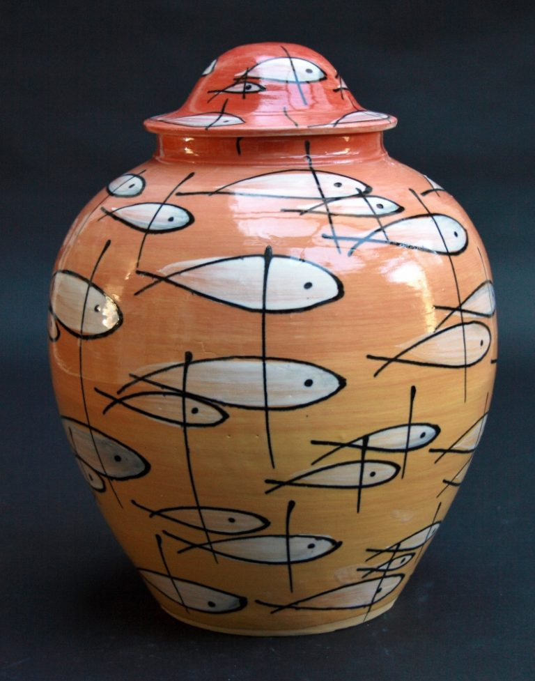 Basalt porselein servies urn Vissen