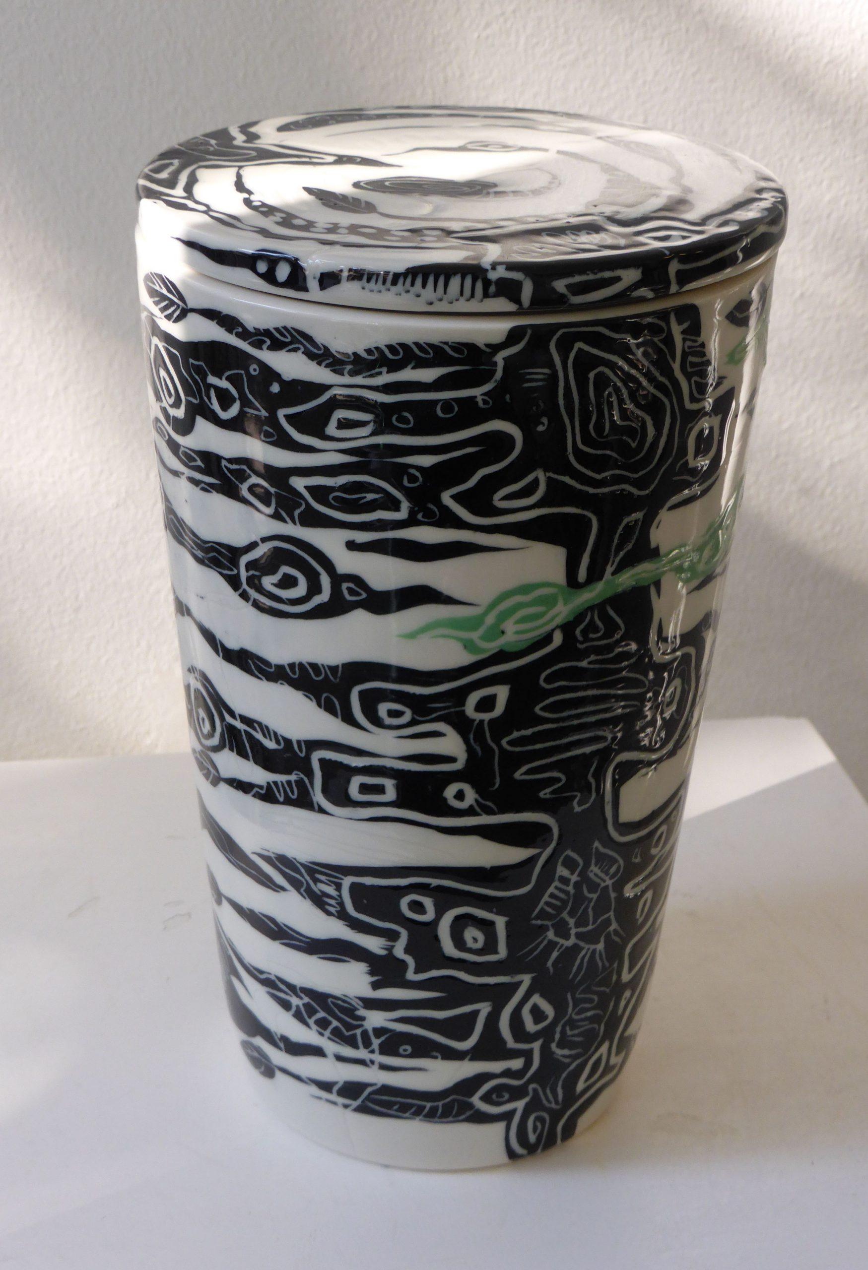 Basalt porselein servies urn Zwart-wit groen