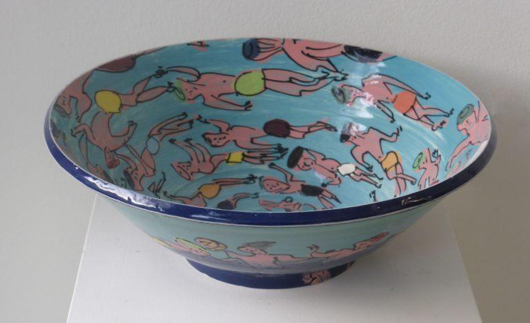 Basalt serviesgoed porselein slaschaal zwemmers