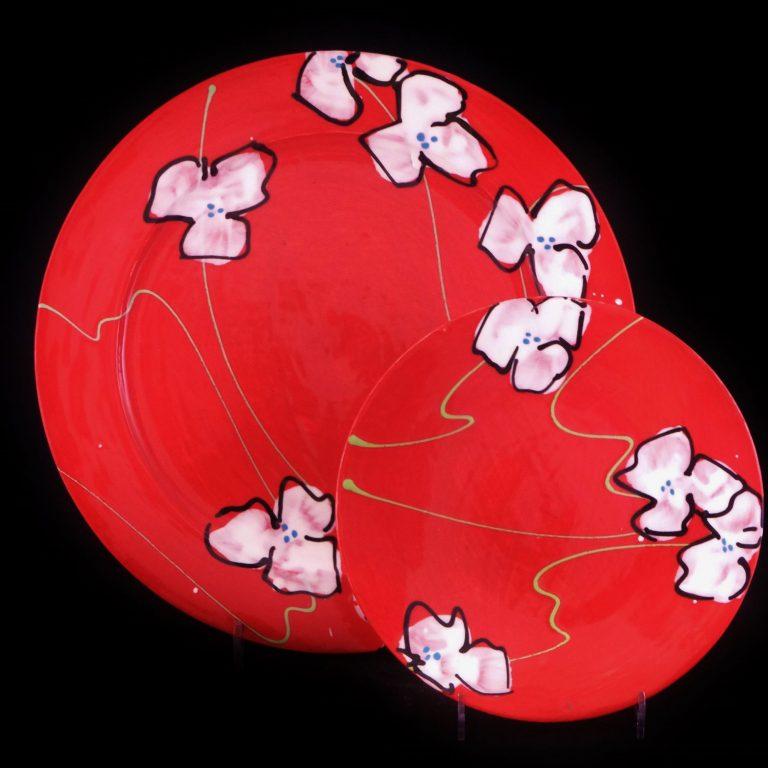 Basalt servies porselein ontbijtbord en gebaksbord Rode bloem
