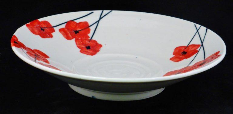 Basalt serviesgoed porselein platte schaal Klaproos