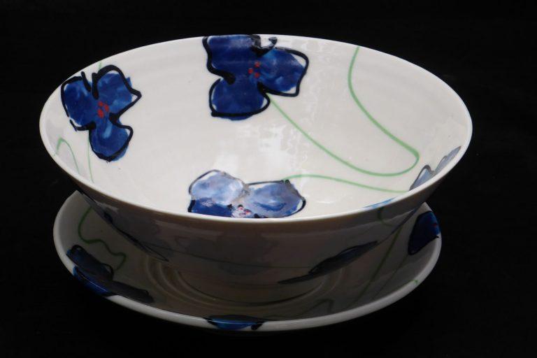 Basalt servies porselein fruittest Blauwe bloem