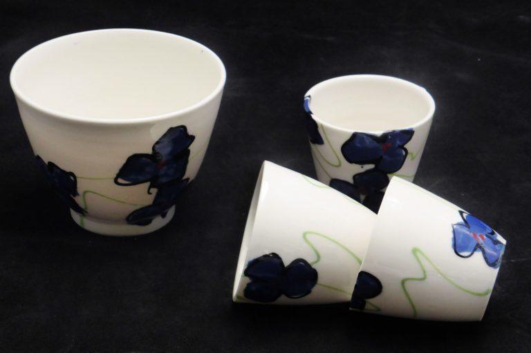 Basalt servies porselein Müsli kom mokje Blauwe bloem