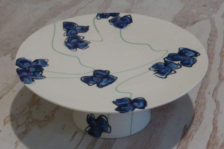 Basalt servies porselein taartplateau Blauwe bloem
