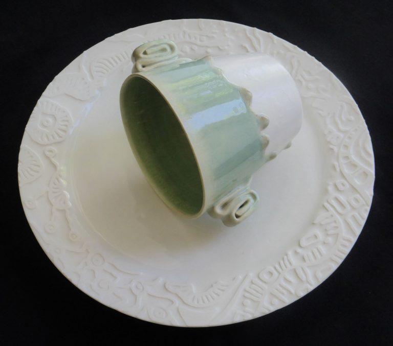 Basalt serviesgoed porselein chocolade beker Celadon