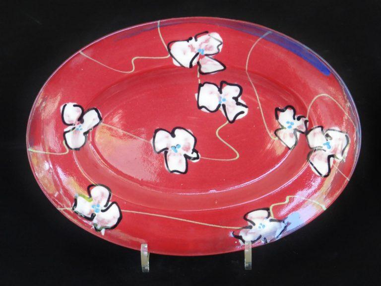 Basalt servies porselein ovale schaal Rode bloem