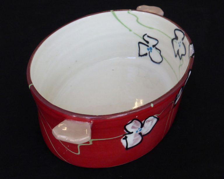 Basalt servies porselein ovenschaal Rode bloem