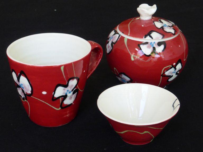 Basalt servies porselein kopje suikerpot mini-bakje Rode bloem