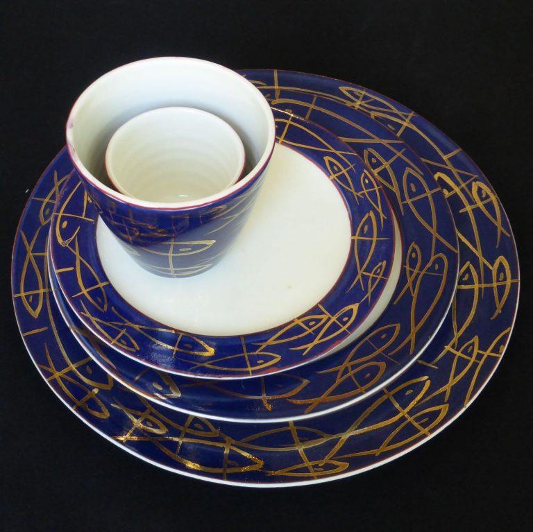 Basalt servies porselein dinerbord ontbijtbord gebaksbord Gouden vissen