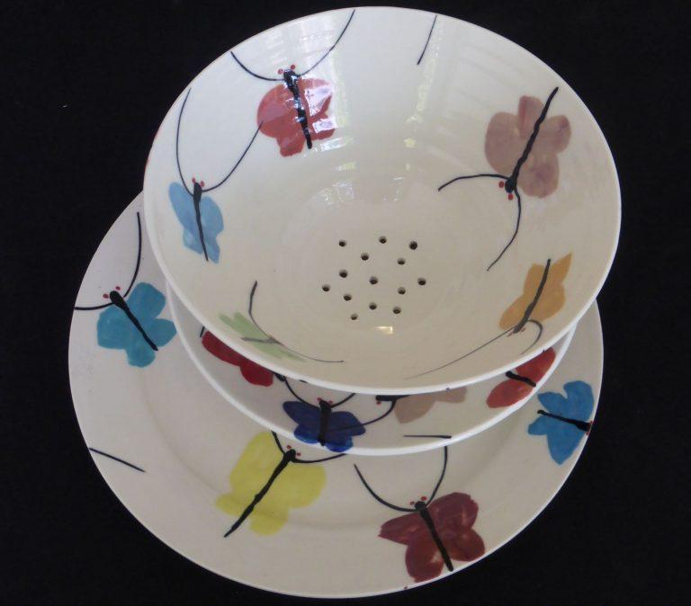 Basalt servies porselein fruittest dinerbord Vlinders