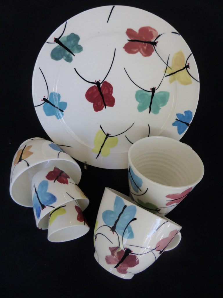 Basalt servies porselein dinerbord cappucino kopje Vlinders
