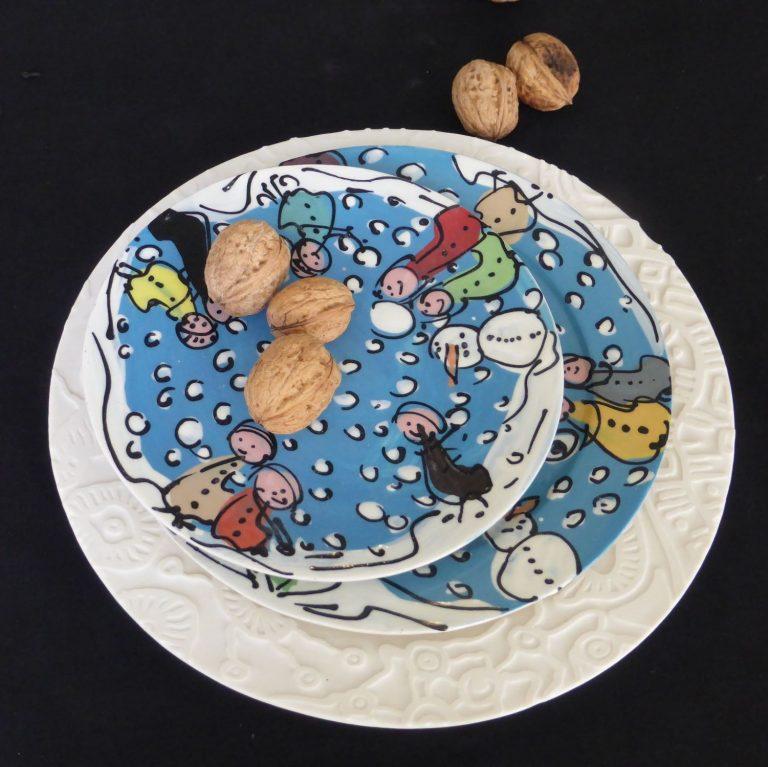 Basalt servies porselein borden Winterkinderen