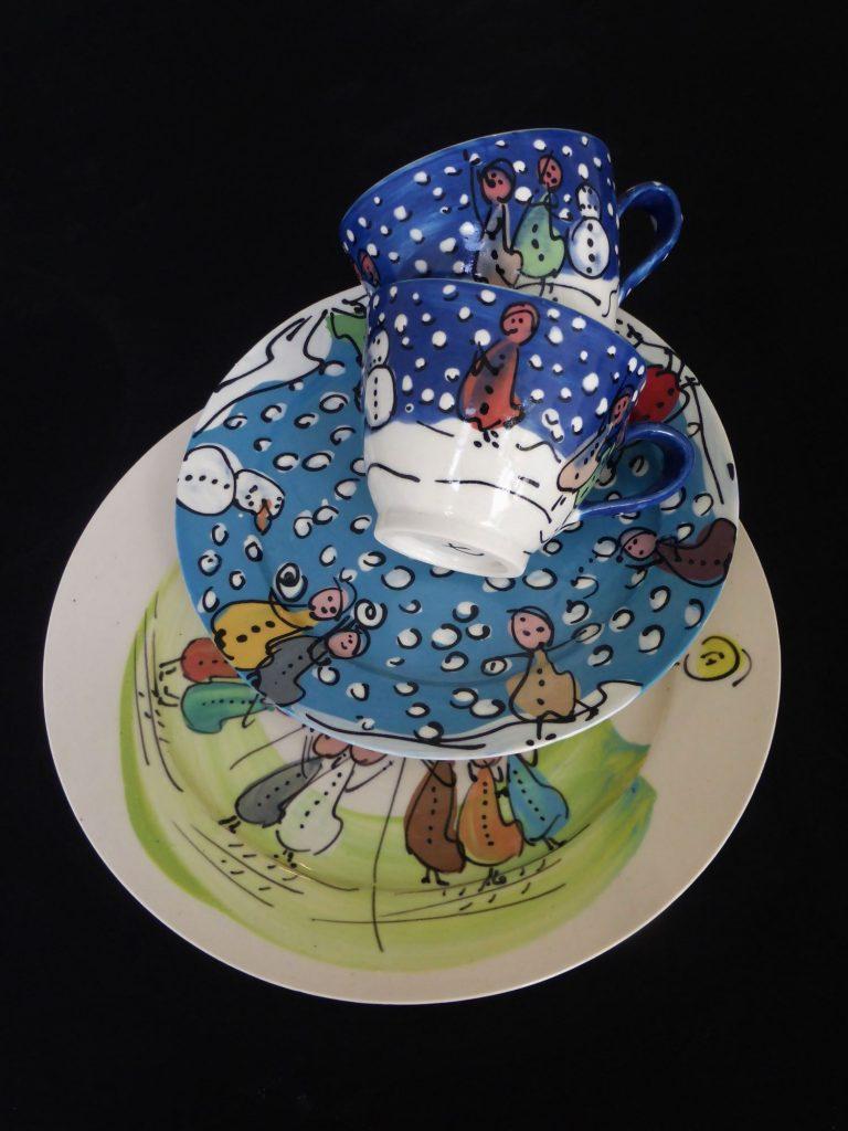 Basalt servies porselein bord en kop Kinderen Winterkinderen