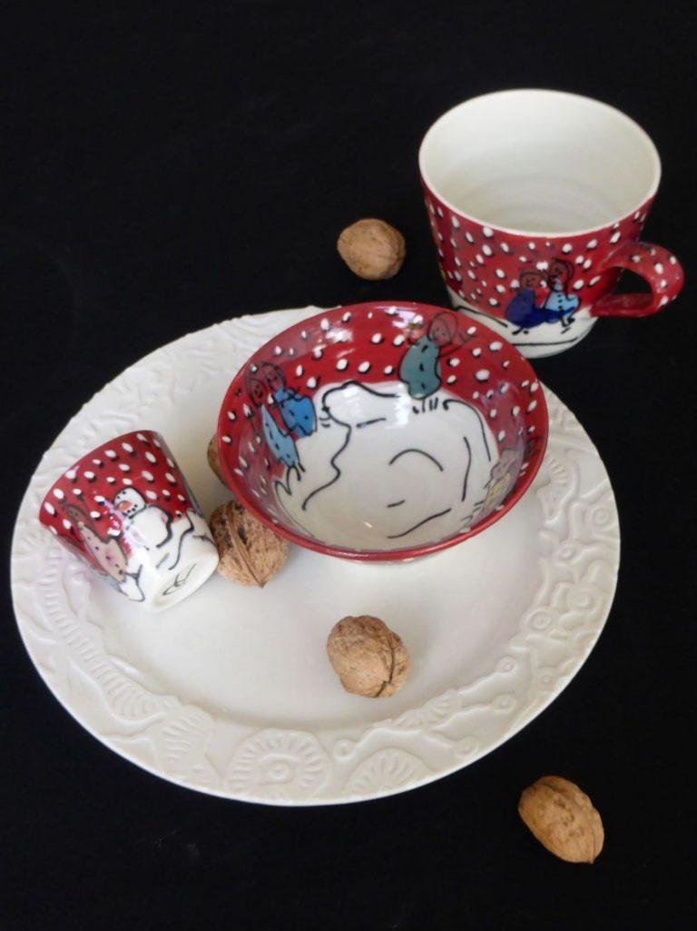 Basalt servies porselein bord kom beker espresso mokje Winterkinderen