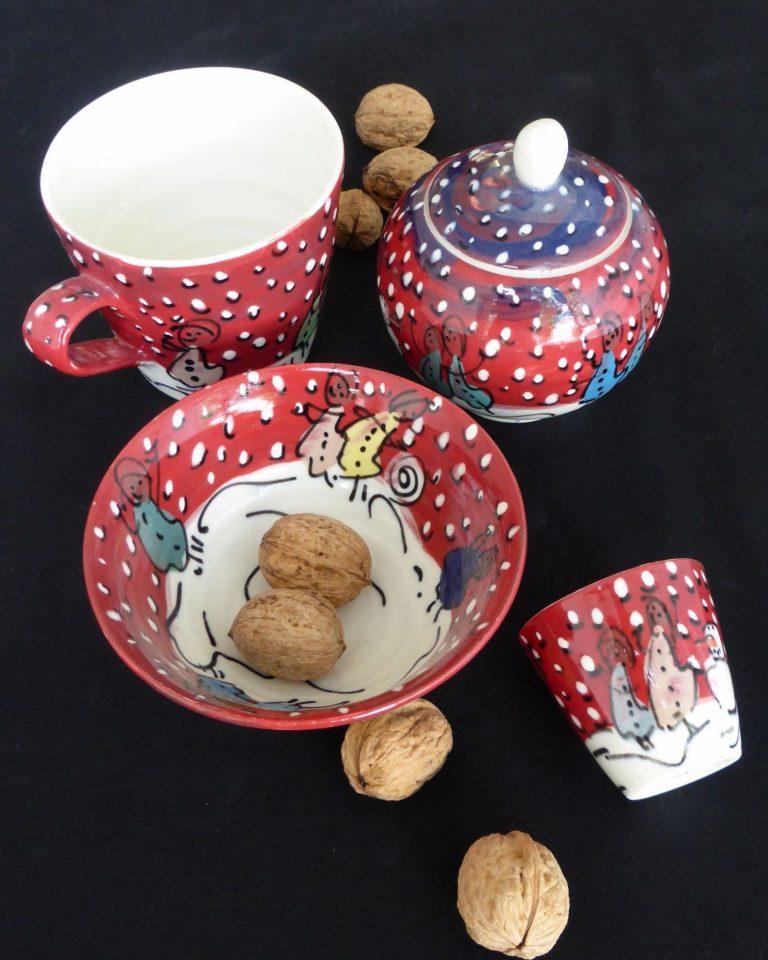 Basalt servies porselein beker suikerpot mok kom Winterkinderen