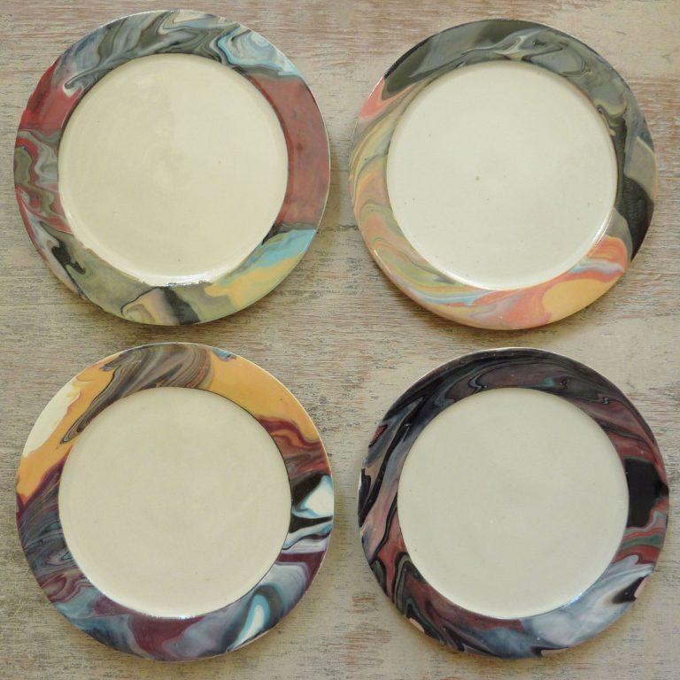 Basalt servies porselein borden Marmer