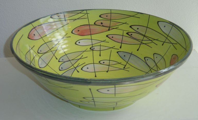 Basalt vazen en schalen porselein Groente Fruit Vissen Vlinders