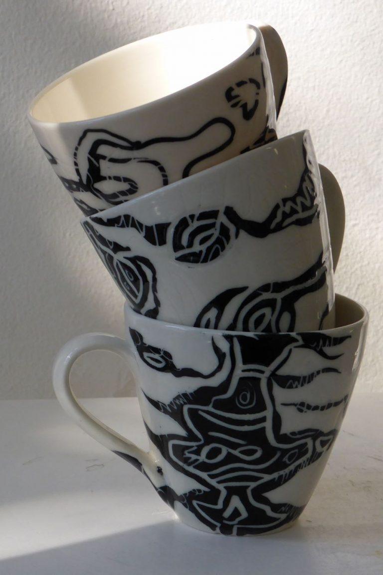 Basalt servies porselein mini bakjes Zwart-wit