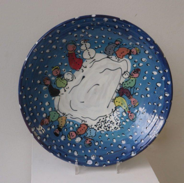 Basalt vazen en schalen porselein Blauw