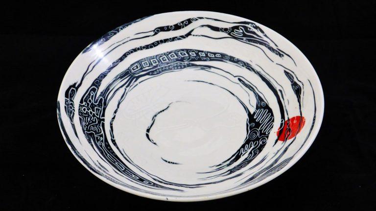 Basalt servies porselein Schaal Zwart-wit sunrise
