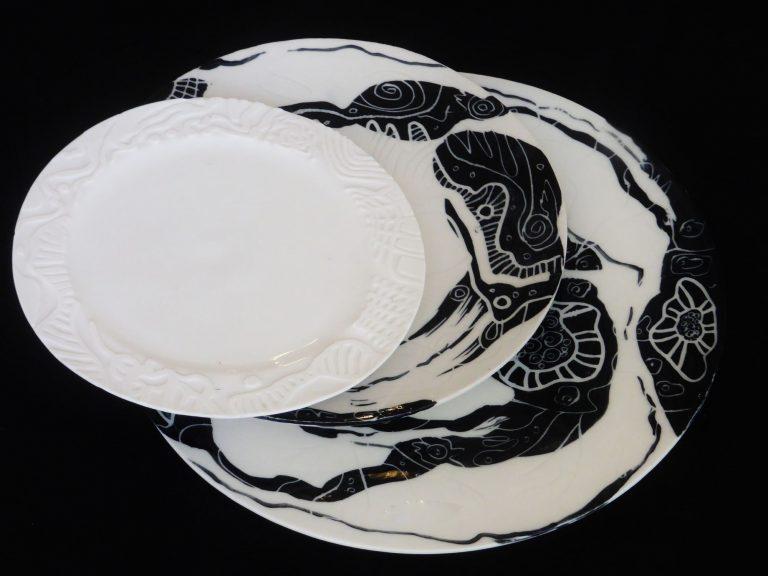 Basalt servies porselein onderbord en dinerbord Zwart-wit