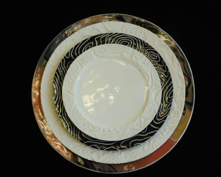 Basalt servies porselein Onderbord Marmer