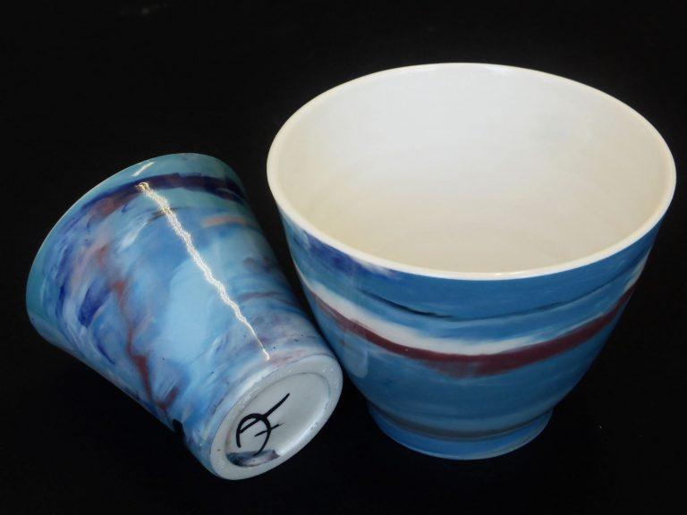 Basalt servies porselein beker Marmer