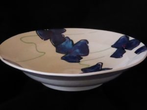 Basalt servies porselein diep bord Blauwe bloem