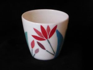 Basalt porselein servies Lotus mokje rood